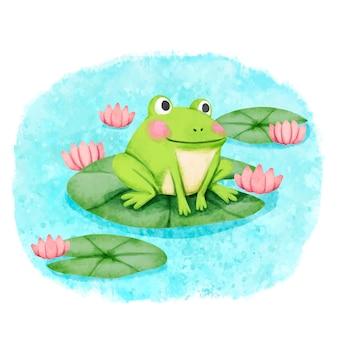 Ręcznie malowane urocza ilustracja żaby