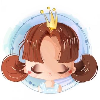 Ręcznie malowane w stylu akwareli jasna dziewczyna z księżniczką z koroną