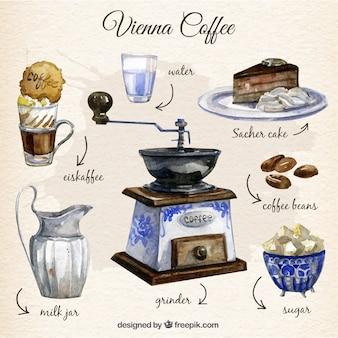 Ręcznie malowane wiedeń elementy kawy