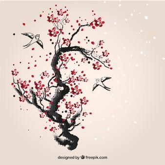 Ręcznie malowane wiśniowe drzewo