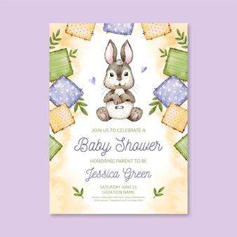 Ręcznie malowane zaproszenie na baby shower