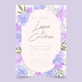 Ręcznie malowane zaproszenie na ślub kwiatowy
