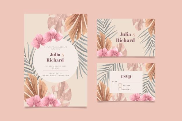 Ręcznie malowane zaproszenie na ślub