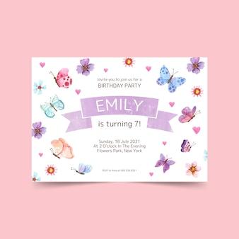 Ręcznie malowane zaproszenie na urodziny motyl