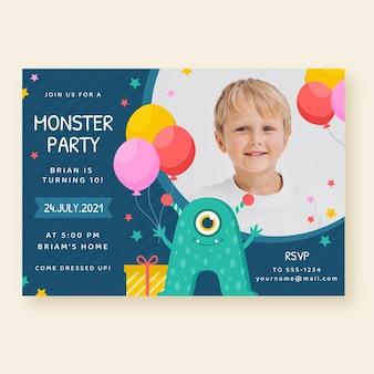 Ręcznie malowane zaproszenie na urodziny tęczy akwarela