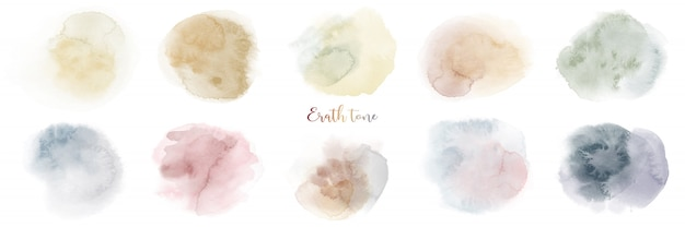 Ręcznie malowane zestaw tekstur akwarela mieszany ton ziemi