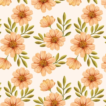 Ręcznie malowany akwarela kwiatowy wzór w odcieniach brzoskwini