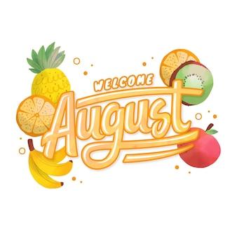 Ręcznie malowany akwarela sierpień napis z owocami
