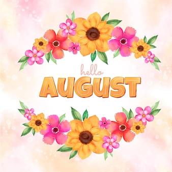Ręcznie malowany akwarelowy kwiatowy napis sierpnia