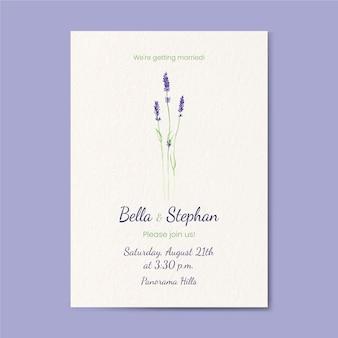 Ręcznie malowany akwarelowy minimalistyczny szablon zaproszenia ślubnego