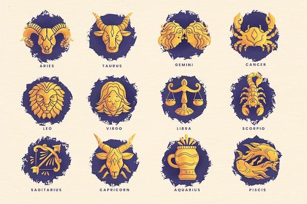 Ręcznie malowany akwarelowy pakiet znaków zodiaku