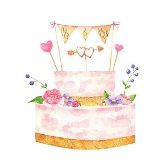 Ręcznie malowany akwarelowy tort weselny z nakładką