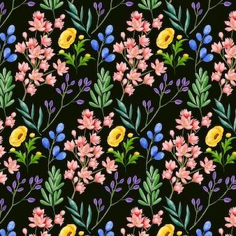 Ręcznie malowany akwarelowy wzór botaniczny