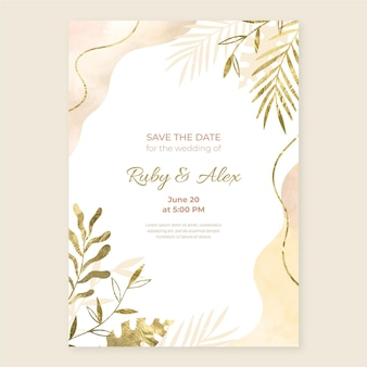 Ręcznie malowany akwarelowy złoty szablon zaproszenia ślubnego