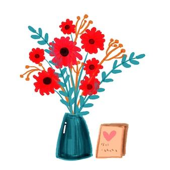 Ręcznie malowany bukiet czerwonych kwiatów
