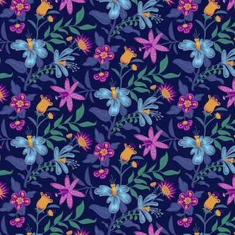 Ręcznie malowany egzotyczny wzór kwiatowy