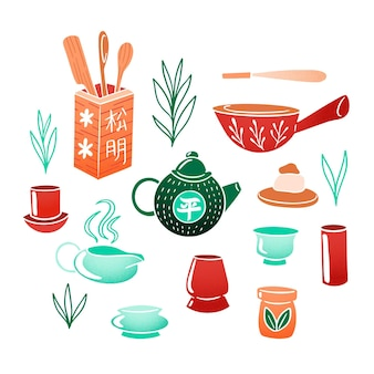 Ręcznie malowany japoński serwis do herbaty
