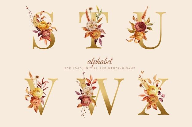 Ręcznie malowany jesienny kwiatowy alfabet na logo nazwa ślubu branding intial card