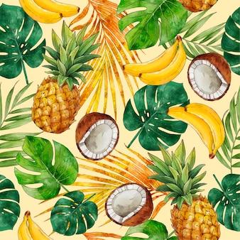 Ręcznie malowany letni tropikalny wzór