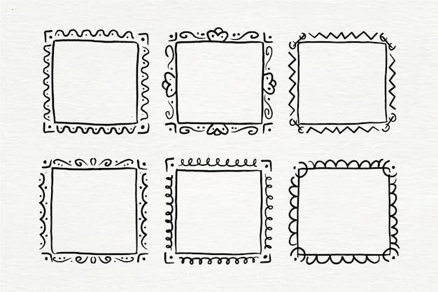 Ręcznie malowany pakiet ramek z doodle akwarelą