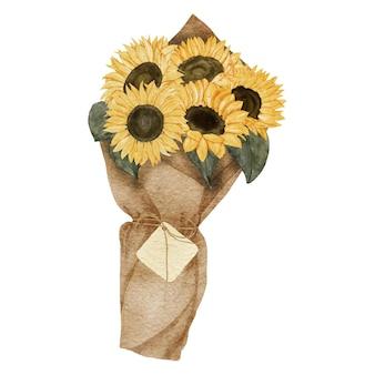 Ręcznie malowany papier do aranżacji słonecznika z zawieszką na prezent