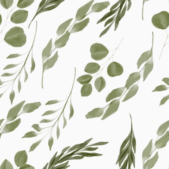 Ręcznie malowany powtarzalny wzór w stylu przypominającym akwarele liści