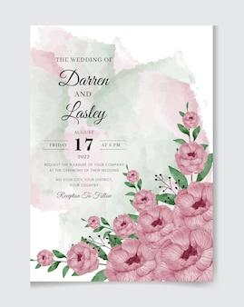 Ręcznie malowany szablon karty zaproszenia ślubne akwarela z czerwonymi różami