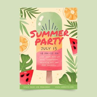 Ręcznie malowany szablon pionowego plakatu akwarela lato party