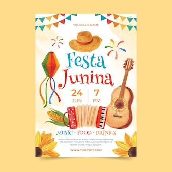 Ręcznie malowany szablon plakatu pionowego festa junina akwarela