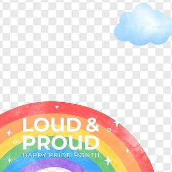 Ręcznie malowany szablon ramki mediów społecznościowych dnia dumy akwarela