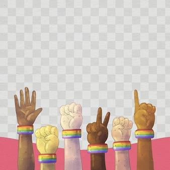 Ręcznie malowany szablon ramki mediów społecznościowych dnia dumy akwareli