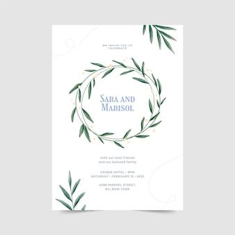 Ręcznie malowany szablon zaproszenia ślubne