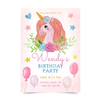 Ręcznie malowany szablon zaproszenia urodzinowego jednorożca akwarela