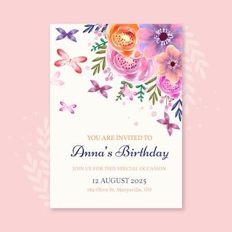 Ręcznie malowany szablon zaproszenia urodzinowego motyla akwarela watercolor