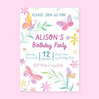 Ręcznie Malowany Szablon Zaproszenia Urodzinowego Motyla Akwarela Watercolor Darmowych Wektorów