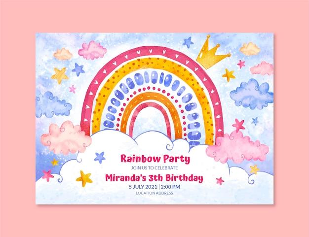 Ręcznie malowany szablon zaproszenia urodzinowego tęczy akwarela