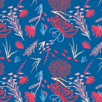 Ręcznie malowany tropikalny kwiatowy wzór