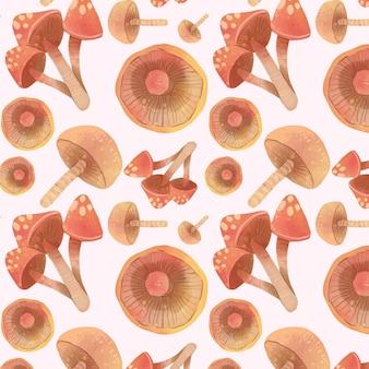 Ręcznie malowany wzór grzybów bez szwu