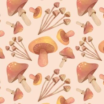 Ręcznie malowany wzór grzybów
