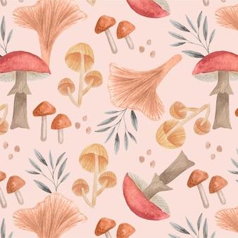 Ręcznie malowany wzór grzyby akwarela