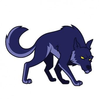 Ręcznie malowany wzór wilka