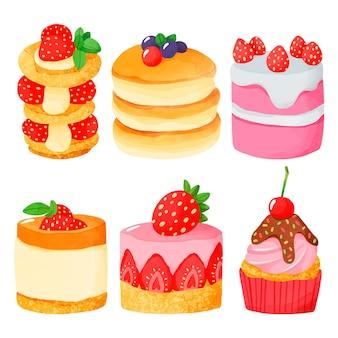 Ręcznie malowany zestaw akwarelowych słodyczy