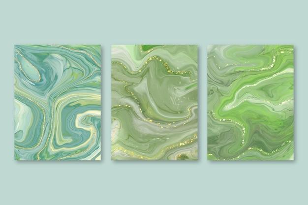 Ręcznie malowany zestaw okładek z płynnego marmuru