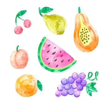 Ręcznie malowany zestaw owoców akwarela