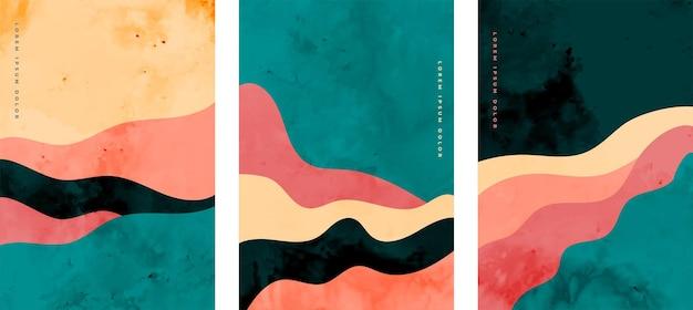 Ręcznie malowany zestaw plakatów z abstrakcyjnymi minimalnymi liniami krzywymi