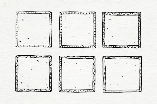 Ręcznie malowany zestaw ramek doodle doodle