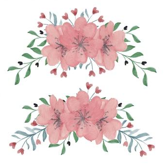 Ręcznie malowany zestaw wiosennych kwiatów