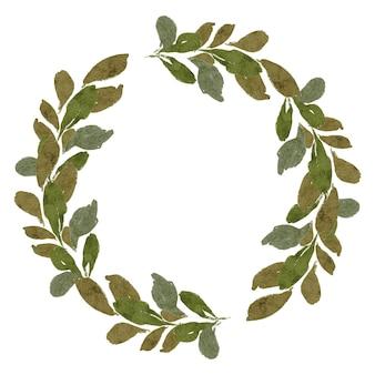 Ręcznie malowany zielony liść wieniec ilustracja akwarela rama