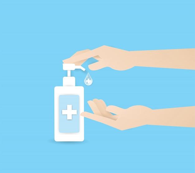Ręcznie naciskając alkohol lub zupę w butelce na górze dwóch ludzkich rąk, umyj rękę. higiena osobista, opieka zdrowotna, ochrona przed chorobami, koronawirus, covid-19