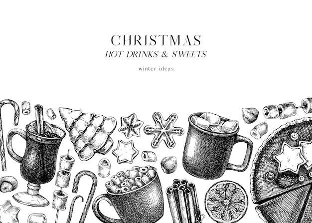 Ręcznie nakreślony projekt zimowych deserów i gorących napojów
